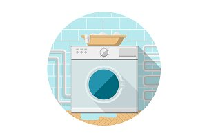 Washing machine flat vector icon