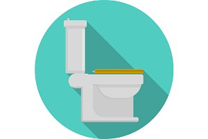 Toilet pan flat round vector icon