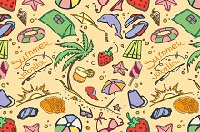 Doodle pattern summer vacation