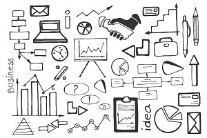 Doodle vector set of business