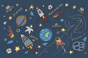 Doodle vector set of cosmos