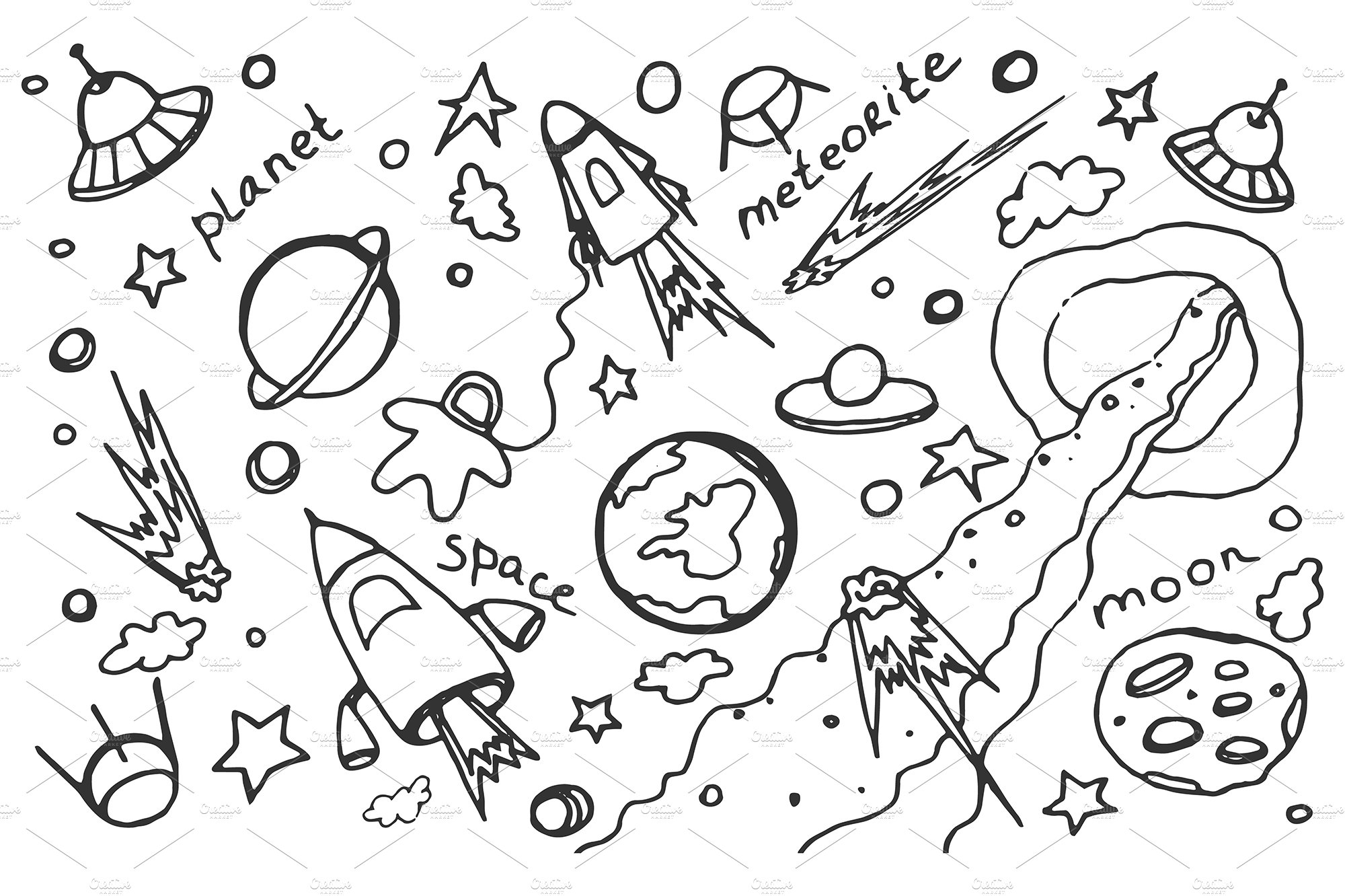 Doodle vector set of cosmos ~ Illustrations ~ Creative Market