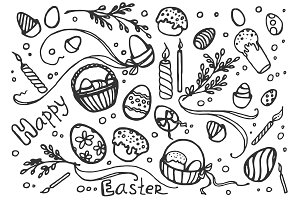 Doodle vector set of easter