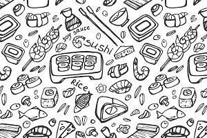 Japanese food - sushi doodle pattern
