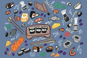 Japanese food - sushi doodle set