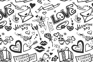Valentines day doodle pattern