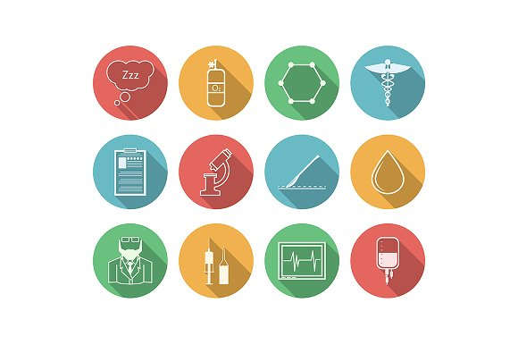 Anesthesiology vector color icon set - Icons