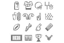 American football line vector icons