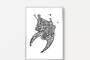 Bull Head Art Print