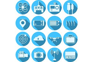 Quadcopter parts blue vector icons
