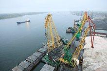 Barge at harbor terminal