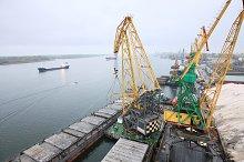 Crane at harbor terminal