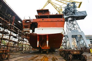 Ocean vessel under repair process