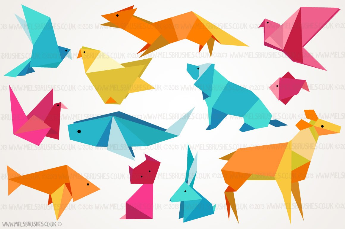 Origami Animal Illustrations Illustrations Creative Market