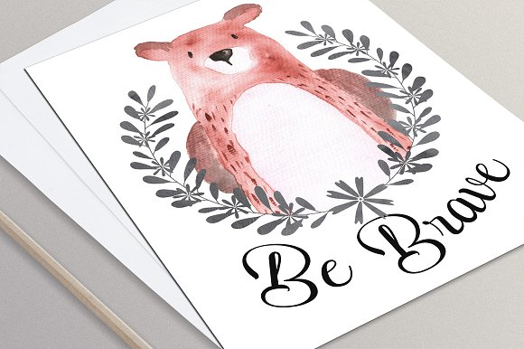 Woodland animals Watercolor Clipart in Illustrations - product preview 3