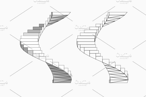 Spiral Staircase Vector Illustrations Creative Market