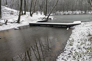 Footbridge on the pond. Late autumn.