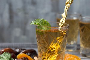 Traditional arabic tea and dry fruit