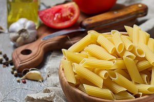 Uncooked  Italian  penne pasta
