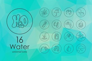16 Water line icons
