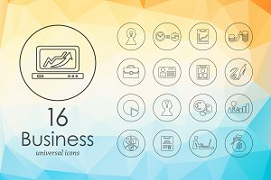16 Business line icons