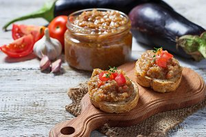 Toasts with eggplant caviar