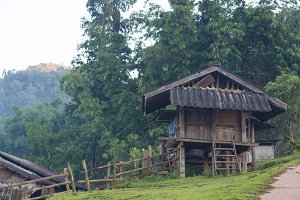 Old wooden house rural areas