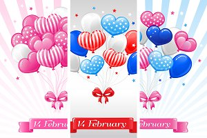 SET / 3 Balloons for Valentine's day