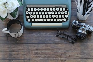 Styled Stock Photo Wood & Typewriter