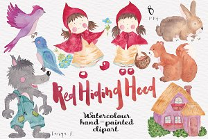 Watercolour Clipart Red Hiding Hood
