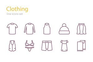 Clothing line icons