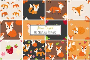 Fox Seamless Vector Patterns + Paper
