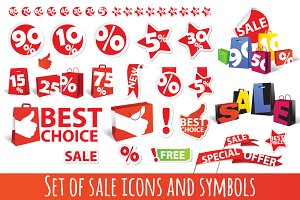 sale icons and symbols