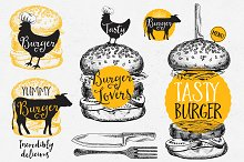 Burgers badges, fast food doodles