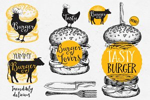 Burgers badges, fast food doodles