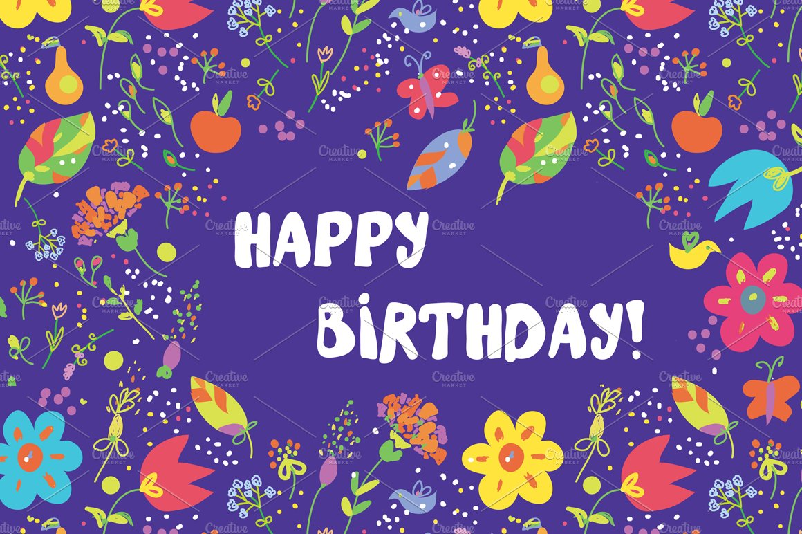 Happy birthday floral cards vector illustrations creative market dhlflorist Gallery