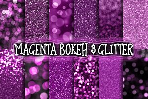 Magenta Bokeh & Glitter Backgrounds