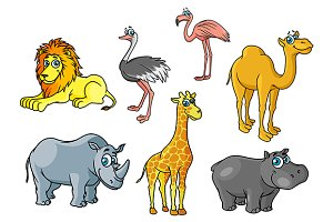 Cartoon african animals and birds