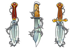 Cartoon ancient daggers with barbed