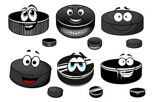 Cartoon black ice hockey pucks