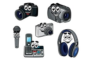 Cartoon cheerful digital devices and