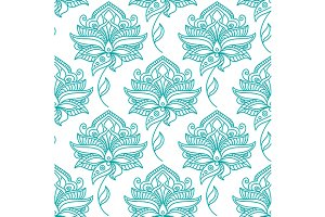 Seamless persian outline blue flower