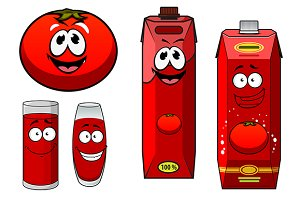 Happy natural tomato juice cartoon c