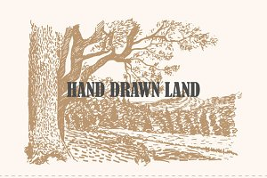 Hand drawn land vector set