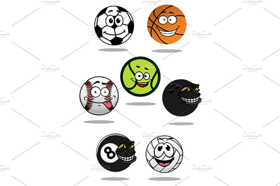 Cute Cartoon Sports Balls Mascot Cha Pre Designed Illustrator Graphics Creative Market