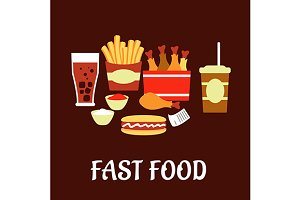 Fast food snacks and drinks set in f