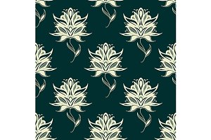 Seamless pattern paisley flowers on