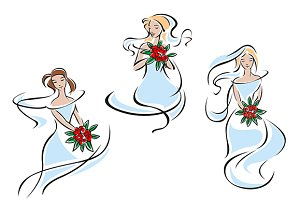 Beautiful brides in outline flowing