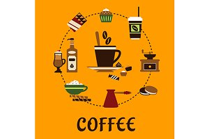 Coffee drinks and desserts flat icon