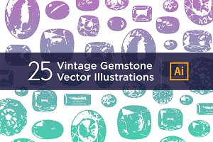 25 Vintage Gemstone Vectors